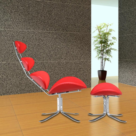 Fine Mod Imports FMI1146-red Crono Chair and Ottoman, Red - Peazz.com - 7