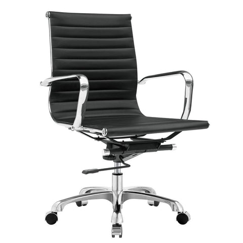 Fine Mod Imports FMI1160-black Modern Conference Office Chair Mid Back, Black - Peazz.com - 1