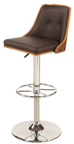 Chintaly 1353-AS-BRW Upholstered Back Pneumatic Stool