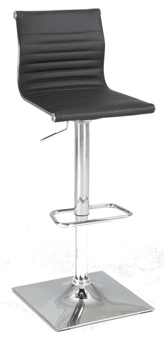 Chintaly 1830-AS-BLK Ribbed Back Adjustable Stool