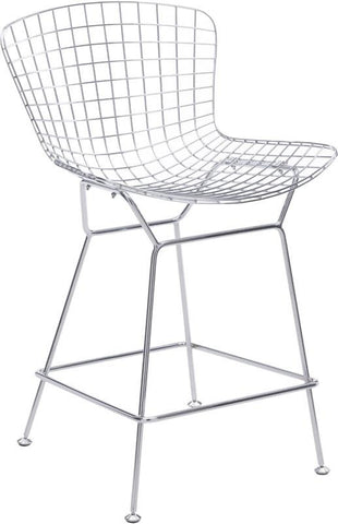 Zuo Modern 188018 Wire Counter Chair Color Chrome Chromed Steel Finish - Set of 2 - BarstoolDirect.com - 1