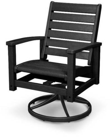 Polywood 1930-12BL Signature Swivel Rocker Chair Textured Black / Black Finish - PolyFurnitureStore
