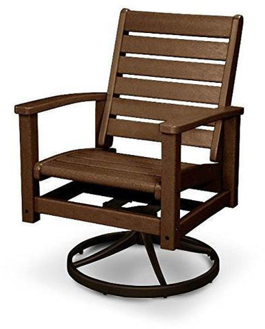 Polywood 1930-16TE Signature Swivel Rocker Chair Textured Bronze / Teak Finish - PolyFurnitureStore