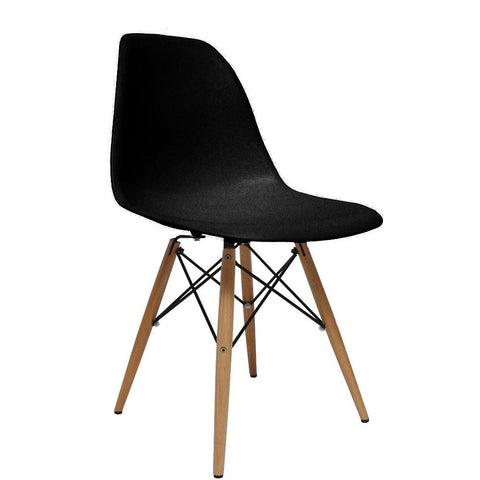 Fine Mod Imports FMI2012-black WoodLeg Dining Side Chair, Black - Peazz.com