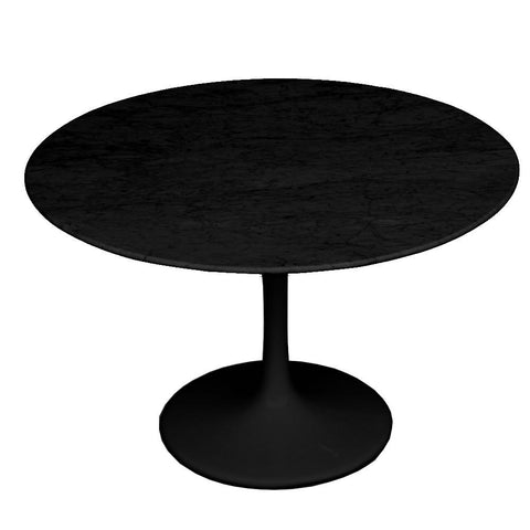"Fine Mod Imports FMI2020-48-black Flower Marble Table 48"" Black, Black - Peazz.com"