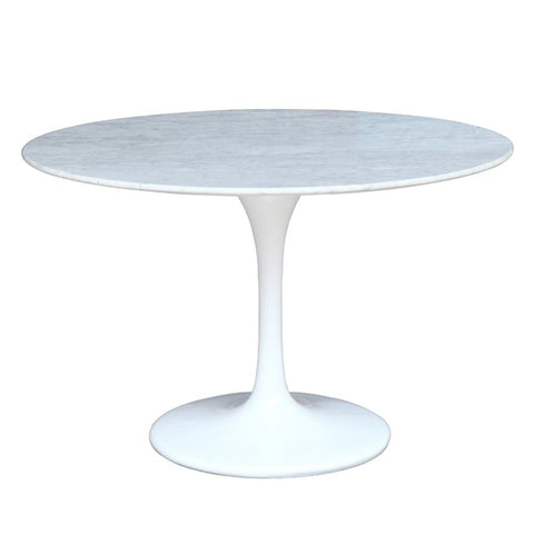 "Fine Mod Imports FMI2020-60-white Flower Marble Table 60"", White - Peazz.com - 1"