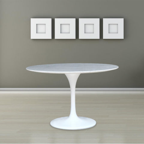 "Fine Mod Imports FMI2020-60-white Flower Marble Table 60"", White - Peazz.com - 7"