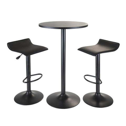 Winsome Wood 20313 Obsidian 3pc Pub Set, Round Table with 2 Airlift Stools all Black - BarstoolDirect.com
