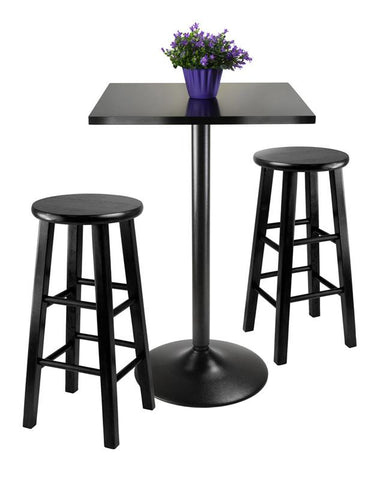 Winsome Wood 20323 3pc Counter Height Dining Set, Black Square Table Top and Black Metal Legs with 2 Wood Stools - BarstoolDirect.com - 2