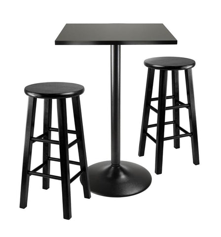 Winsome Wood 20323 3pc Counter Height Dining Set, Black Square Table Top and Black Metal Legs with 2 Wood Stools - BarstoolDirect.com - 1