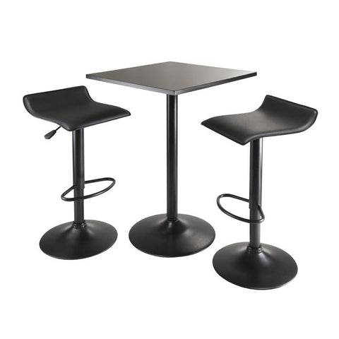 Winsome Wood 20325 Obsidian 3pc Table Set, Square Table Counter Height with 2 Airlift Stools all Black - BarstoolDirect.com