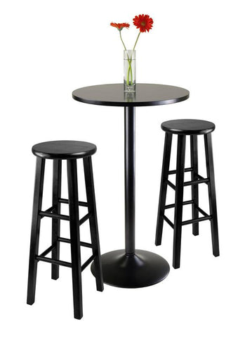 "Winsome Wood 20331 3pc Round Black Pub Table with two 29"" Wood Stool Square Legs - BarstoolDirect.com - 2"