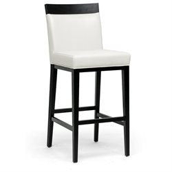 Wholesale Interiors Y-1013-DU8143 Clymene Black Wood and Cream Leather Modern Bar Stool - Each