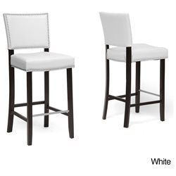 Wholesale Interiors BBT5112 Bar Stool-Brown Aries Dark Brown Modern Bar Stool with Nail Head Trim - Set of 2