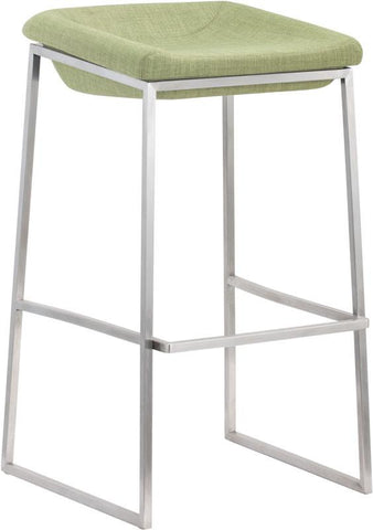 Zuo Modern 300032 Lids Barstool Color Green Brushed Stainless Steel Finish - Set of 2 - BarstoolDirect.com - 1