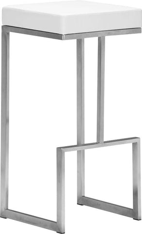 Zuo Modern 300046 Darwen Barstool Color White Brushed Stainless Steel Finish - Set of 2 - BarstoolDirect.com - 1