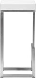 Zuo Modern 300046 Darwen Barstool Color White Brushed Stainless Steel Finish - Set of 2 - BarstoolDirect.com - 2