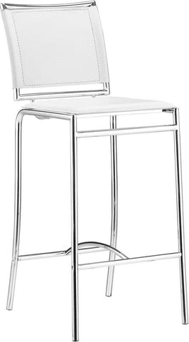 Zuo Modern 300151 Soar Bar Chair Color White Chromed Steel Finish - Set of 2 - BarstoolDirect.com - 1
