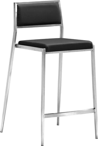 Zuo Modern 300188 Dolemite Counter Chair Color Black Brushed Stainless Steel Finish - Set of 2 - BarstoolDirect.com - 1