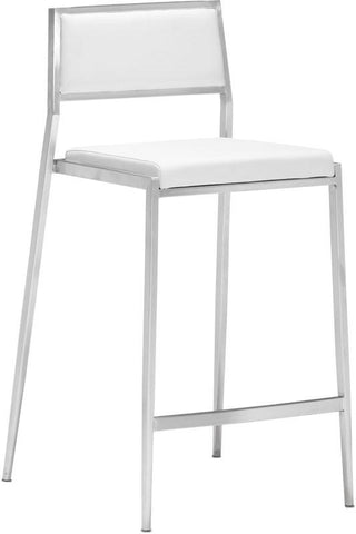 Zuo Modern 300189 Dolemite Counter Chair Color White Brushed Stainless Steel Finish - Set of 2 - BarstoolDirect.com - 1