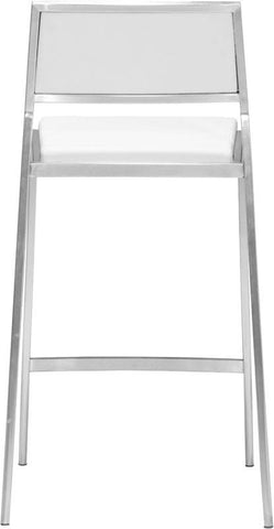 Zuo Modern 300189 Dolemite Counter Chair Color White Brushed Stainless Steel Finish - Set of 2 - BarstoolDirect.com - 4