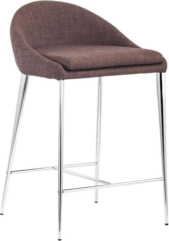 Zuo Modern 300332 Reykjavik Counter Chair Color Tobacco Chromed Steel Finish - Set of 2 - BarstoolDirect.com - 1