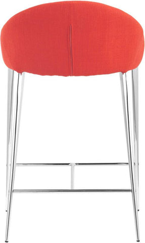 Zuo Modern 300333 Reykjavik Counter Chair Color Tangerine Chromed Steel Finish - Set of 2 - BarstoolDirect.com - 4