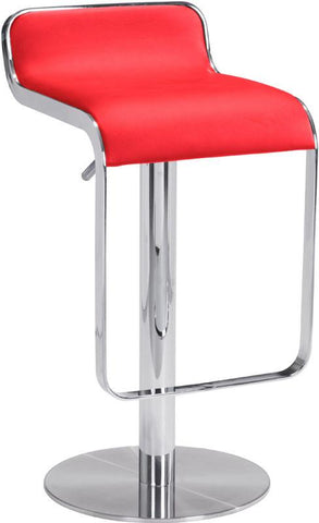 Zuo Modern 301112 Equino Barstool Color Red Chromed Stainless Steel Finish - BarstoolDirect.com - 1