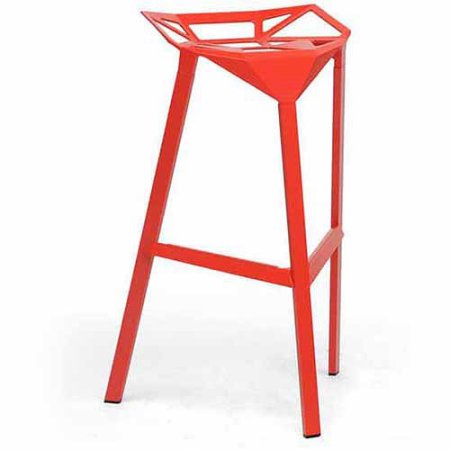 Wholesale Interiors BS-363-Red Kaysa Red Aluminum Modern Bar Stool - Set of 2