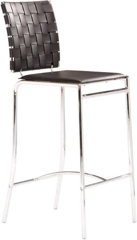 Zuo Modern 333062 Criss Cross Counter Chair Color Black Chromed Steel Finish - Set of 2 - BarstoolDirect.com - 1