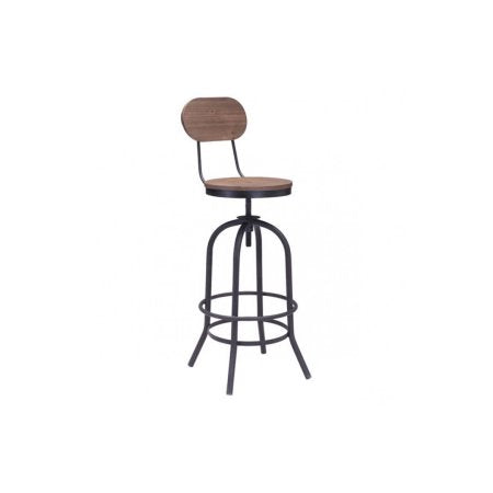 Zuo Modern 98181 Twin Peaks Bar Chair Color Distressed Natural Metal Finish