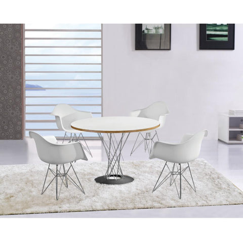Fine Mod Imports FMI4011-white WireLeg Dining Arm Chair, White - Peazz.com - 2