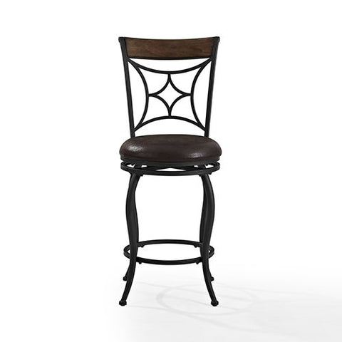 Crosley Furniture CF520626BK-DC Kayden Counter Stool, 26-inch - Black with Dark Caramel Cushion