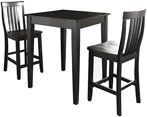 Pub Set Tapered Leg Table Schoolhouse Stools Black Piece 3118 Product Photo