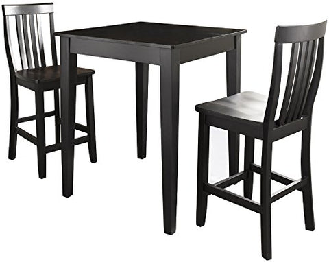 Crosley Furniture 3-Piece Pub Set with Tapered Leg Table and Schoolhouse Stools - Black
