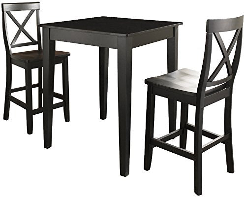 Pub Set Tapered Leg Table Back Stools Black Piece 3118 Product Photo