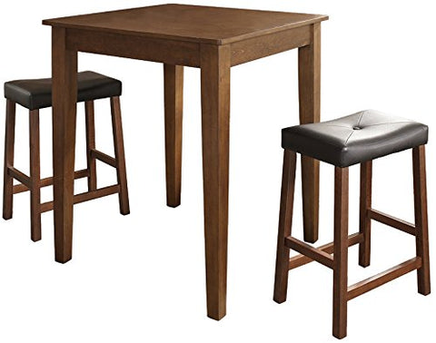 Crosley Furniture 3-Piece Pub Set with Tapered Leg Table and Upholstered Saddle Stools - Classic Cherry