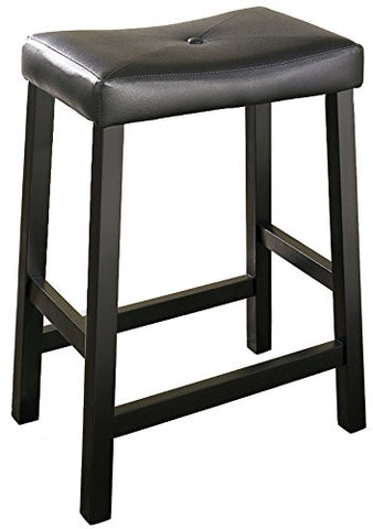 Crosley Furniture Upholstered Saddle Seat 24-inch Bar Stool - Black (Set of 2)