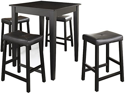 Pub Set Tapered Leg Table Upholstered Saddle Stools Black Piece 3118 Product Photo