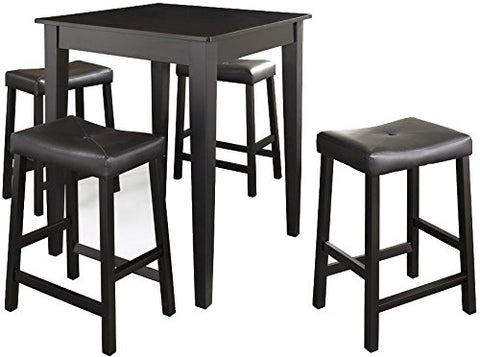 Crosley Furniture 5-Piece Pub Set with Tapered Leg Table and Upholstered Saddle Stools - Black