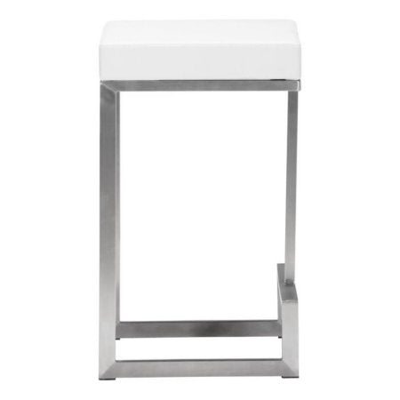 Zuo Modern 300049 Darwen Counter Stool Color White Brushed Stainless Steel Finish - Set of 2