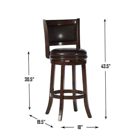 Boraam 46829 Augusta Bar Height Swivel Stool, 29-Inch, Cappuccino with Dark Brown PU