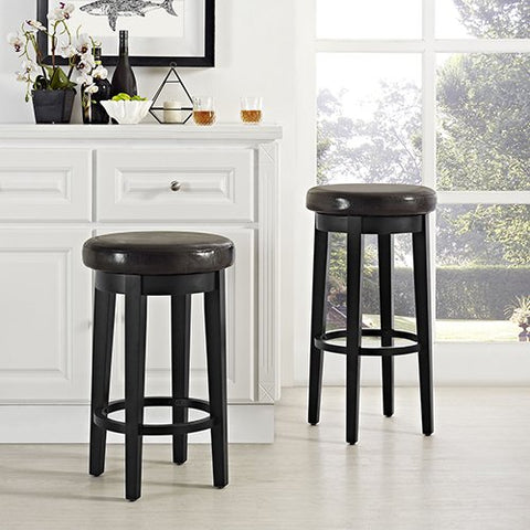 Crosley Furniture Swivel Counter Stool in Black with Brown Cushion - Set of 2