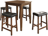 Crosley Furniture 5-Piece Pub Set with Tapered Leg Table and Upholstered Saddle Stools - Classic Cherry