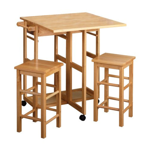 Winsome Wood 89330 Space Saver, Drop Leaf Table with 2 Square Stools - BarstoolDirect.com