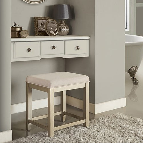 Crosley Furniture Vista Vanity Stool in Distressed Gold With Creme Linen Seat