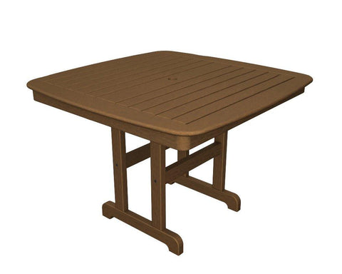 "Polywood NCT44TE Nautical 44"" Dining Table in Teak - Peazz.com - 1"