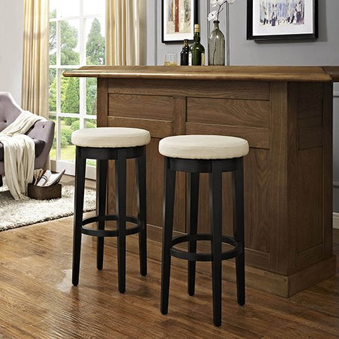 Swivel Bar Stool in Black with Creme Cushion - Set of 2