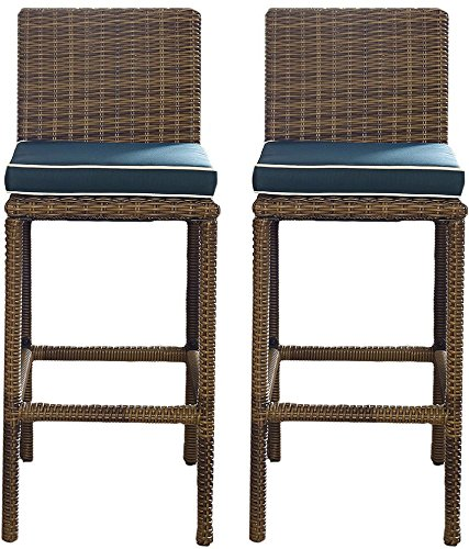 Furniture | Weather | Cushion | Outdoor | Stool | Brown | Navy | Bar