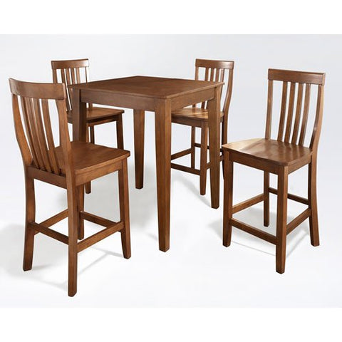 Crosley Furniture 5-Piece Pub Set with Tapered Leg Table and Schoolhouse Stools - Classic Cherry